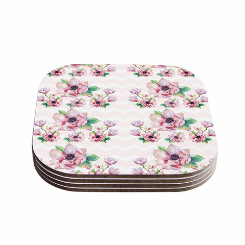 "Sylvia Cook ""Watercolor Magnolias"" Pink Green Digital Coasters (Set of 4)"