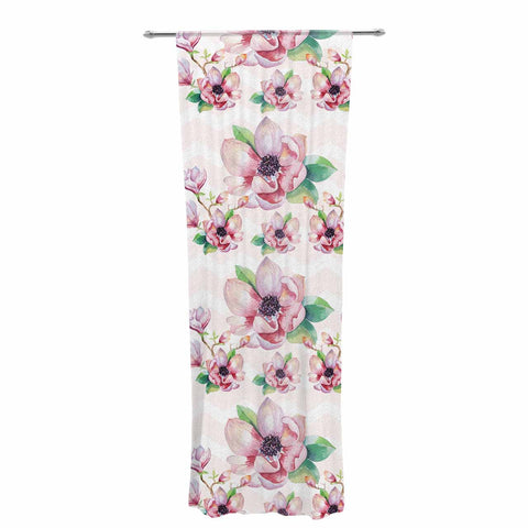 "Sylvia Cook ""Watercolor Magnolias"" Pink Green Digital Decorative Sheer Curtain"