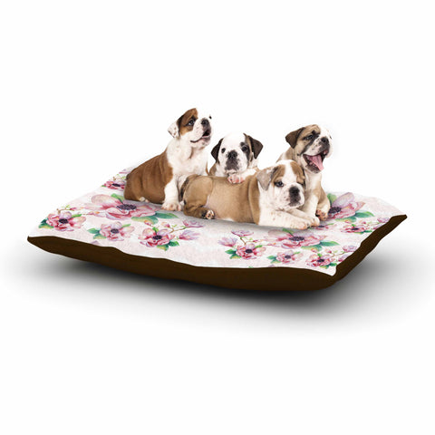 "Sylvia Cook ""Watercolor Magnolias"" Pink Green Digital Dog Bed"