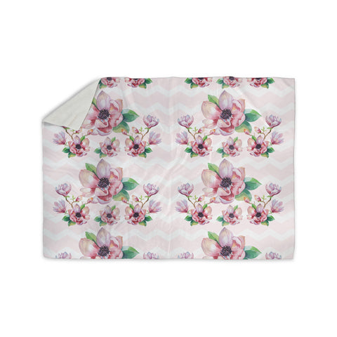 "Sylvia Cook ""Watercolor Magnolias"" Pink Green Digital Sherpa Blanket"