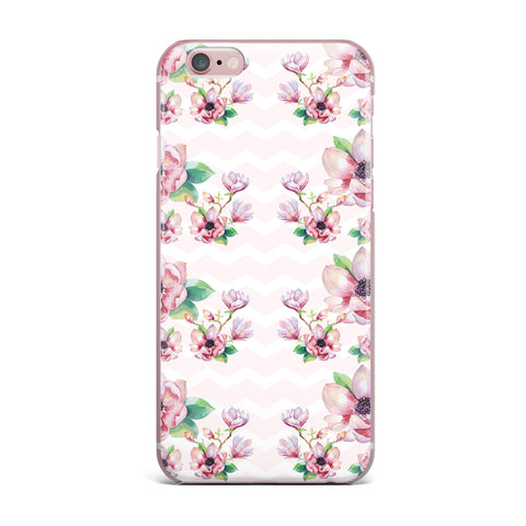 "Sylvia Cook ""Watercolor Magnolias"" Pink Green Digital iPhone Case"