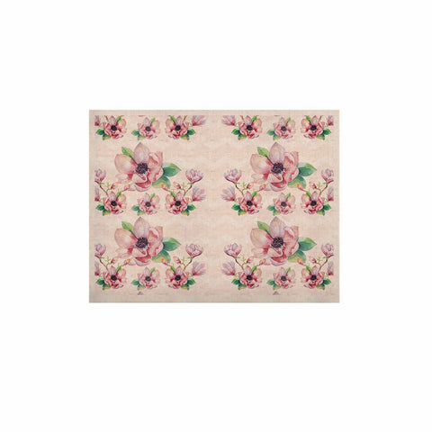 "Sylvia Cook ""Watercolor Magnolias"" Pink Green Digital KESS Naturals Canvas (Frame not Included)"