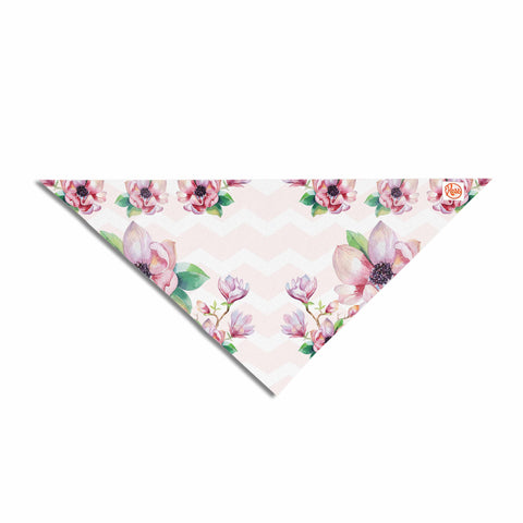 "Sylvia Cook ""Watercolor Magnolias"" Pink Green Digital Pet Bandana"