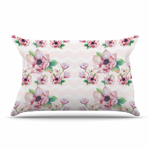"Sylvia Cook ""Watercolor Magnolias"" Pink Green Digital Pillow Sham"