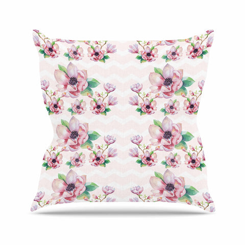 "Sylvia Cook ""Watercolor Magnolias"" Pink Green Digital Outdoor Throw Pillow"