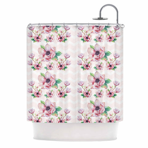 "Sylvia Cook ""Watercolor Magnolias"" Pink Green Digital Shower Curtain"
