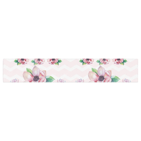 "Sylvia Cook ""Watercolor Magnolias"" Pink Green Digital Table Runner"
