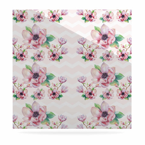 "Sylvia Cook ""Watercolor Magnolias"" Pink Green Digital Luxe Square Panel"