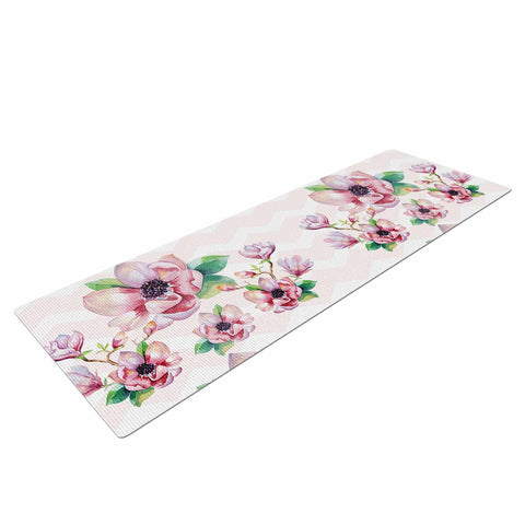 "Sylvia Cook ""Watercolor Magnolias"" Pink Green Digital Yoga Mat"