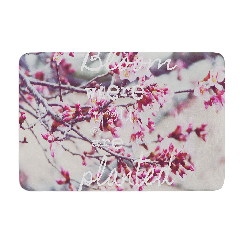 "Suzanne Carter ""Bloom Pink"" Memory Foam Bath Mat - KESS InHouse"