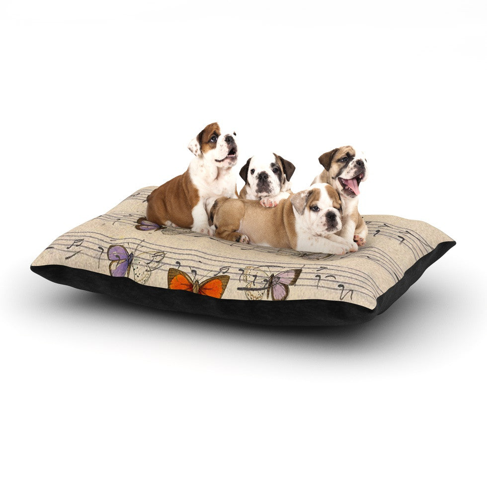 "Suzanne Carter ""Butterfly Opera"" Music Tan Dog Bed - KESS InHouse  - 1"