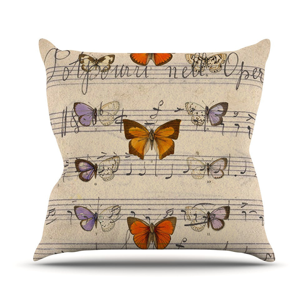 "Suzanne Carter ""Butterfly Opera"" Music Tan Outdoor Throw Pillow - KESS InHouse  - 1"