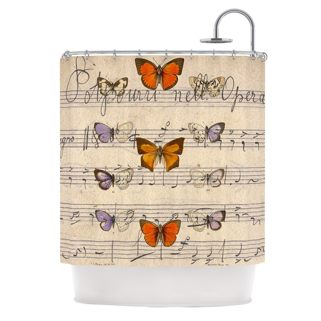 "Suzanne Carter ""Butterfly Opera"" Music Tan Shower Curtain - KESS InHouse"