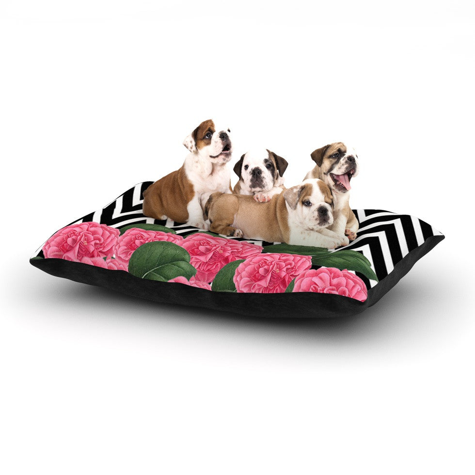 "Suzanne Carter ""Camellia"" Chevron Flower Dog Bed - KESS InHouse  - 1"