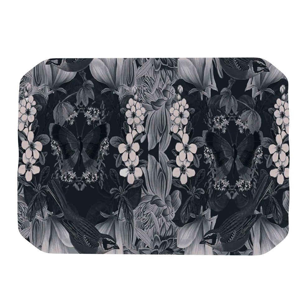 "Suzanne Carter ""Magnolia Cushion"" Gray Place Mat - KESS InHouse"