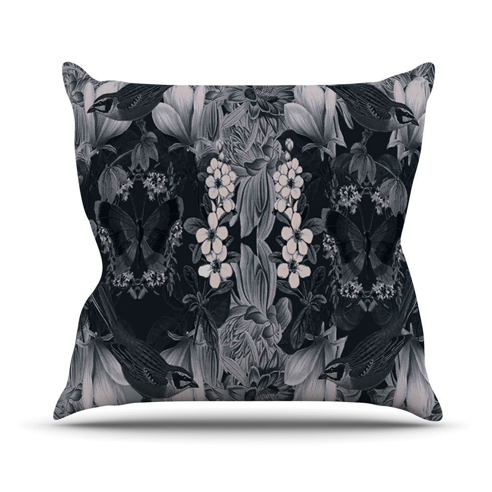 "Suzanne Carter ""Magnolia Cushion"" Gray Outdoor Throw Pillow - KESS InHouse  - 1"