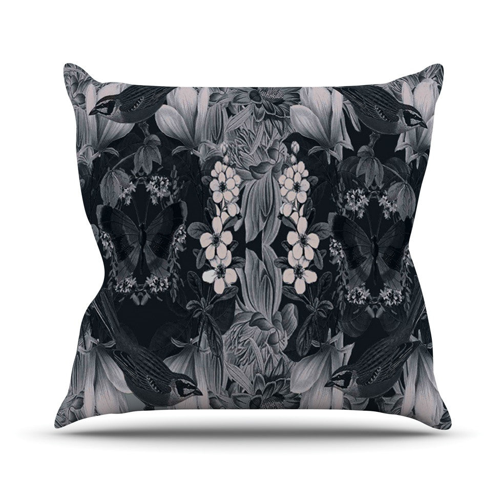 "Suzanne Carter ""Magnolia Cushion"" Gray Throw Pillow - KESS InHouse  - 1"