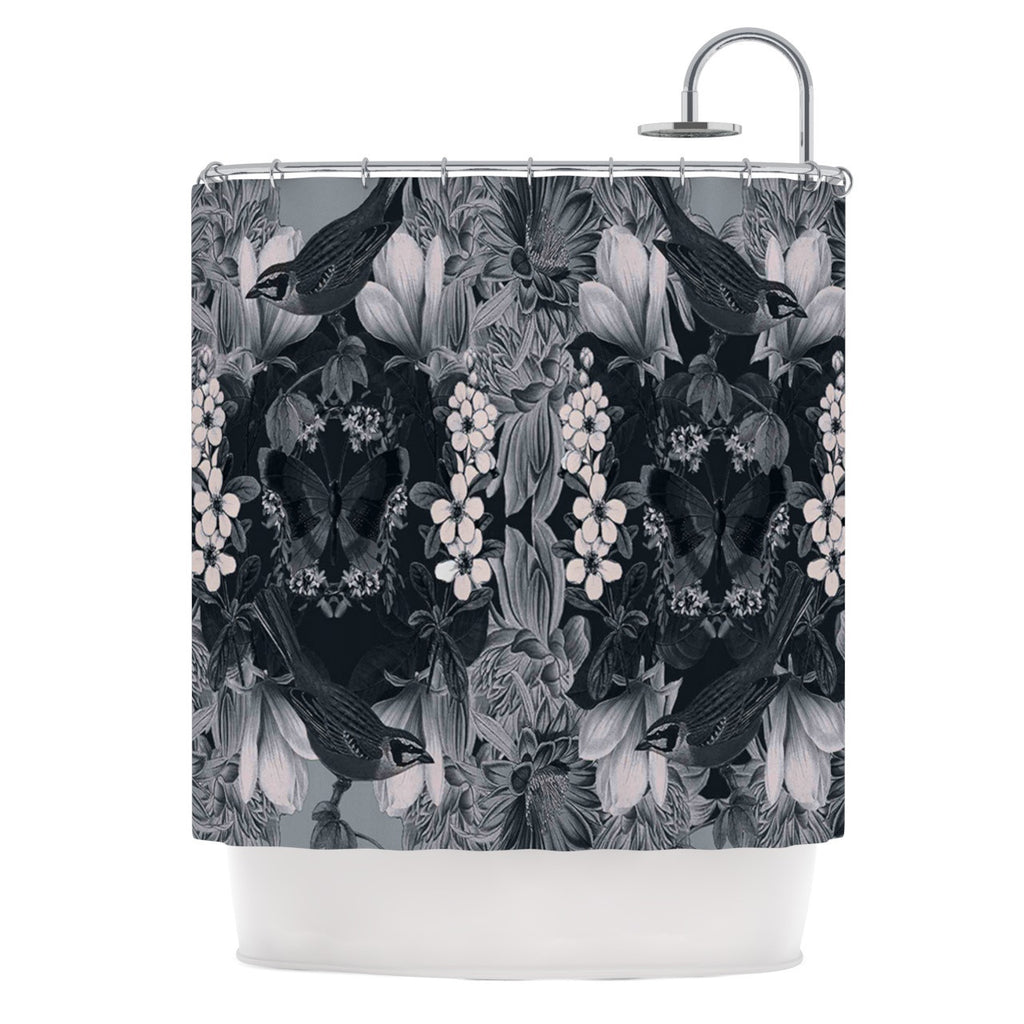 "Suzanne Carter ""Magnolia Cushion"" Gray Shower Curtain - KESS InHouse"