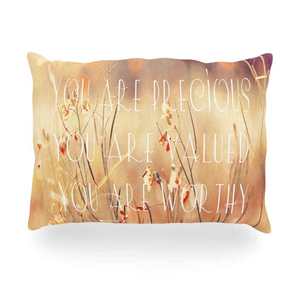 "Suzanne Carter ""You are Precious"" Quote Oblong Pillow - KESS InHouse"