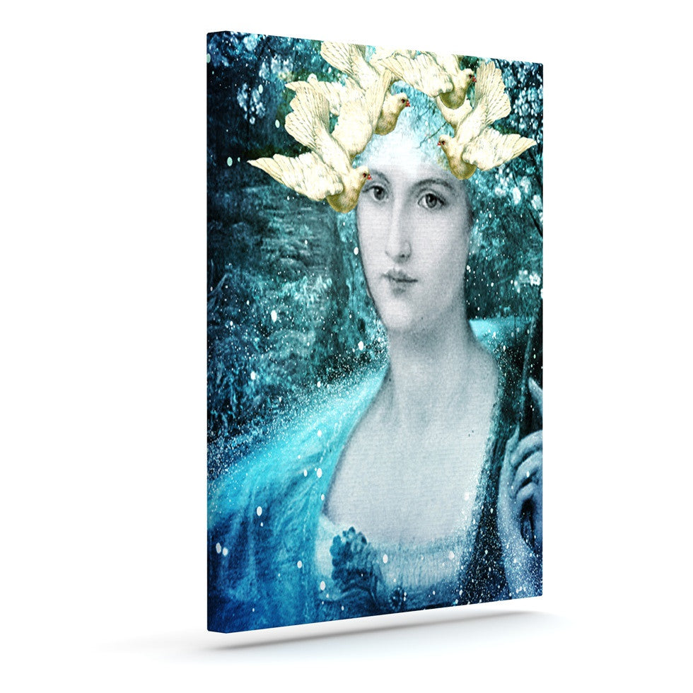 "Suzanne Carter ""Adorned"" Blue Outdoor Canvas Wall Art - KESS InHouse  - 1"