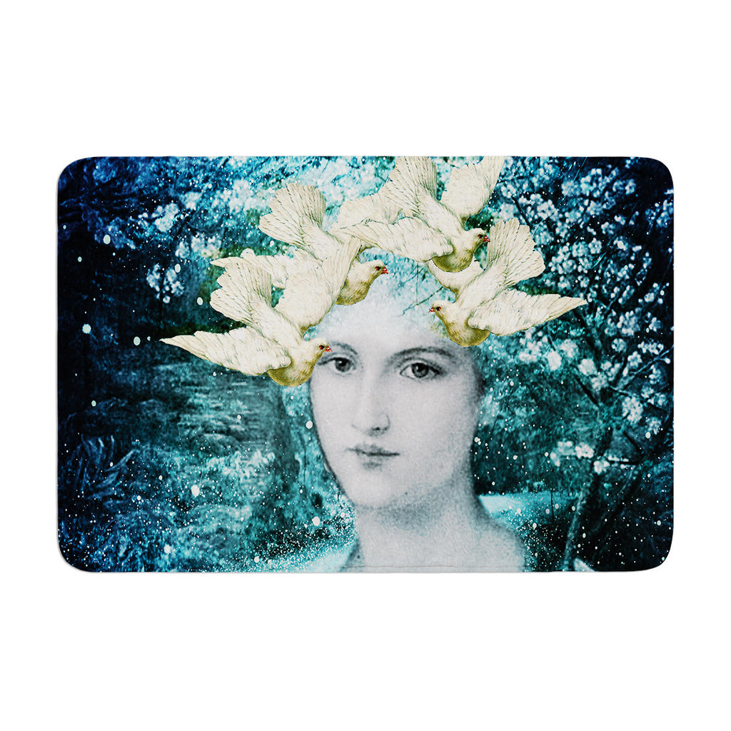 "Suzanne Carter ""Adorned"" Blue Memory Foam Bath Mat - KESS InHouse"