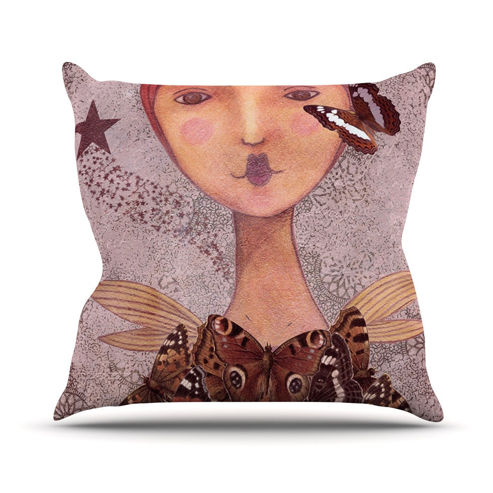 "Suzanne Carter ""Prudence"" Pink Portrait Outdoor Throw Pillow - KESS InHouse  - 1"
