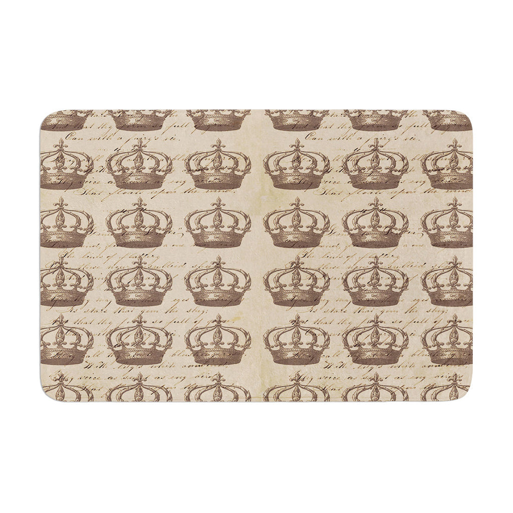 "Suzanne Carter ""Crowns"" Brown Tan Memory Foam Bath Mat - KESS InHouse"
