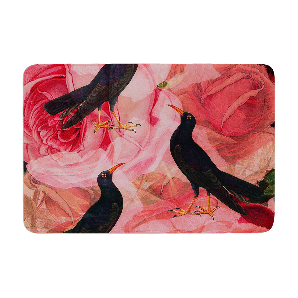 "Suzanne Carter ""Song Bird Cush"" Red Black Memory Foam Bath Mat - KESS InHouse"