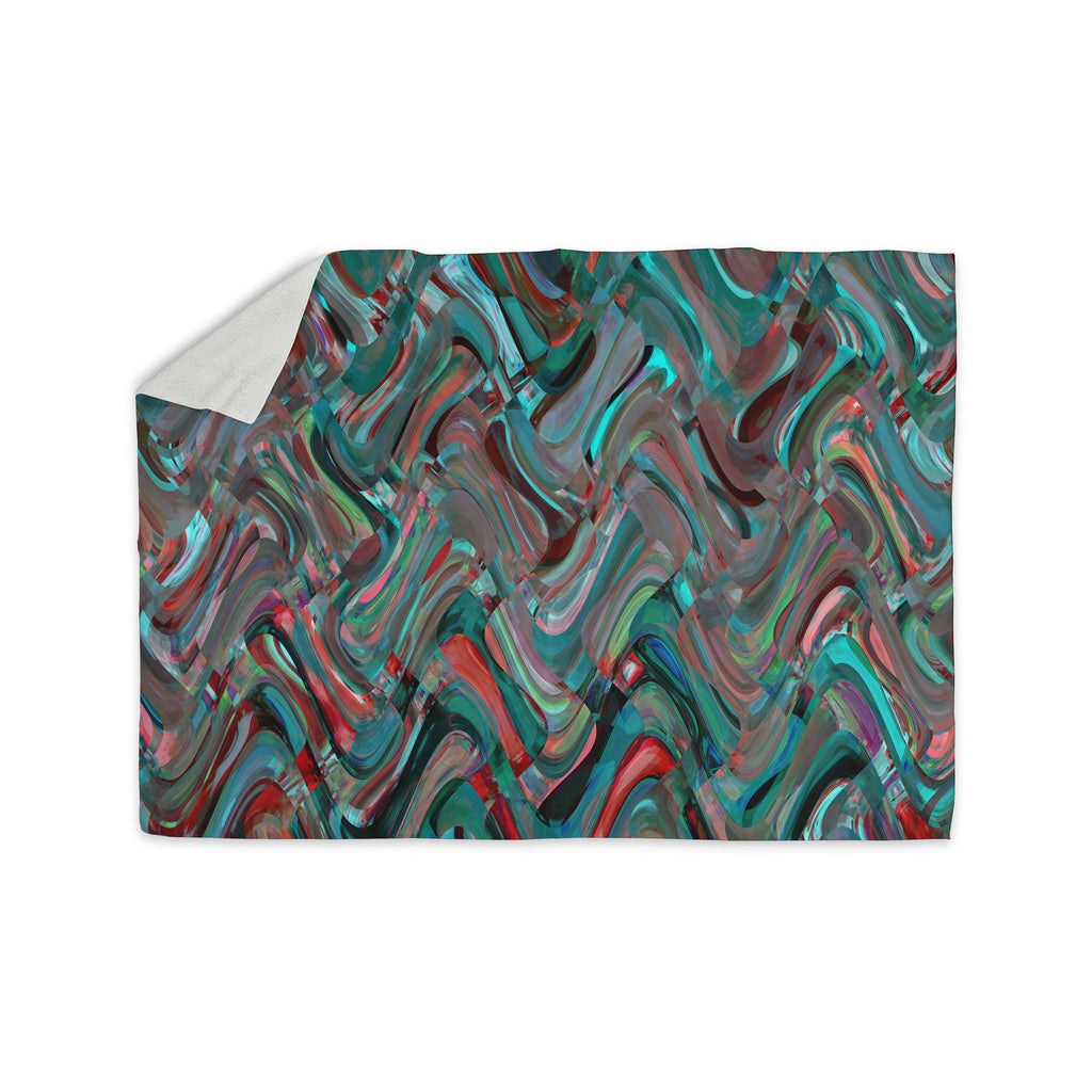 "Suzanne Carter ""Abstract Wave"" Teal Abstract Sherpa Blanket - KESS InHouse  - 1"