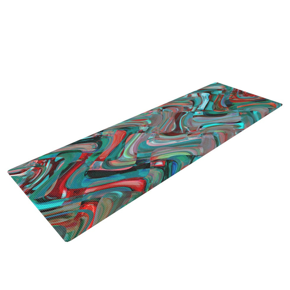 "Suzanne Carter ""Abstract Wave"" Teal Abstract Yoga Mat - KESS InHouse  - 1"