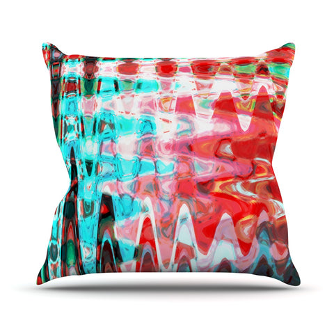 "Suzanne Carter ""Aqua Wave"" Multicolor Abstract Throw Pillow - Outlet Item - KESS InHouse"