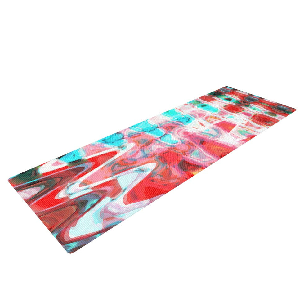 "Suzanne Carter ""Aqua Wave"" Multicolor Abstract Yoga Mat - KESS InHouse  - 1"