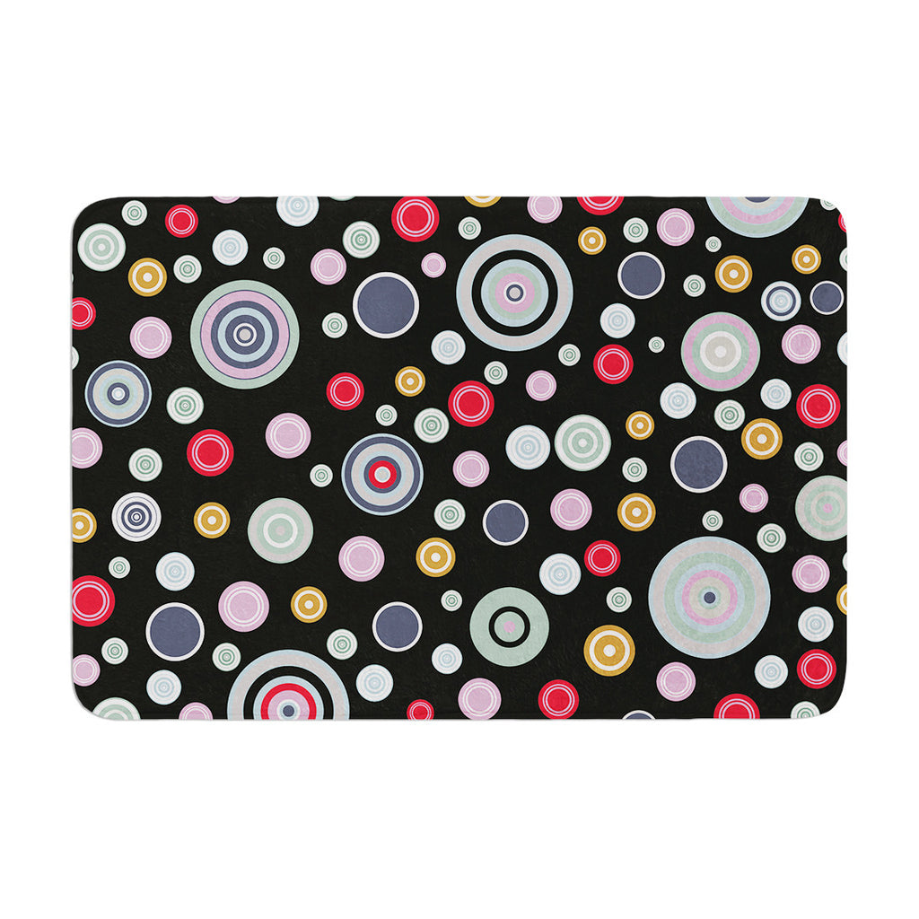 "Suzanne Carter ""Circle Circle II"" Black Multicolor Memory Foam Bath Mat - KESS InHouse"