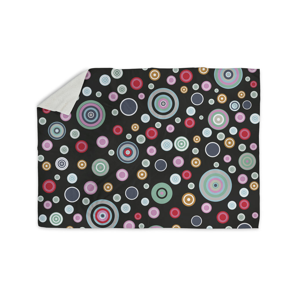 "Suzanne Carter ""Circle Circle II"" Black Multicolor Sherpa Blanket - KESS InHouse  - 1"
