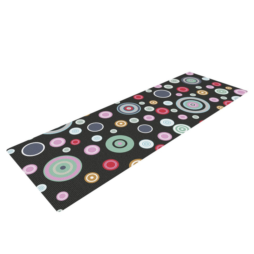 "Suzanne Carter ""Circle Circle II"" Black Multicolor Yoga Mat - KESS InHouse  - 1"