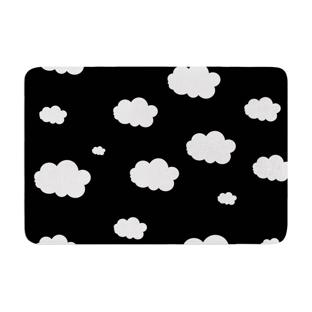 "Suzanne Carter ""Clouds"" Black White Memory Foam Bath Mat - KESS InHouse"