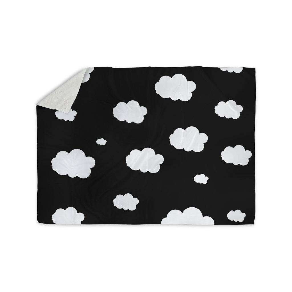 "Suzanne Carter ""Clouds"" Black White Sherpa Blanket - KESS InHouse  - 1"