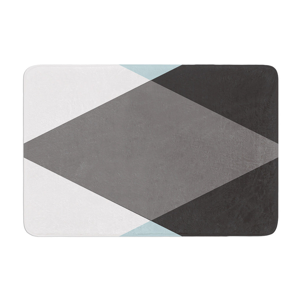 "Suzanne Carter ""Diamonds"" Gray Blue Memory Foam Bath Mat - KESS InHouse"