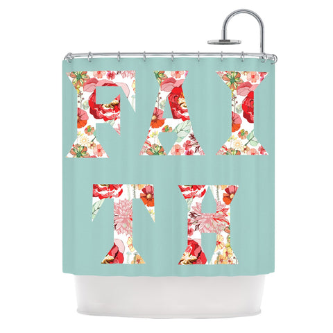 "Suzanne Carter ""FAITH"" Blue Red Shower Curtain - Outlet Item - KESS InHouse"