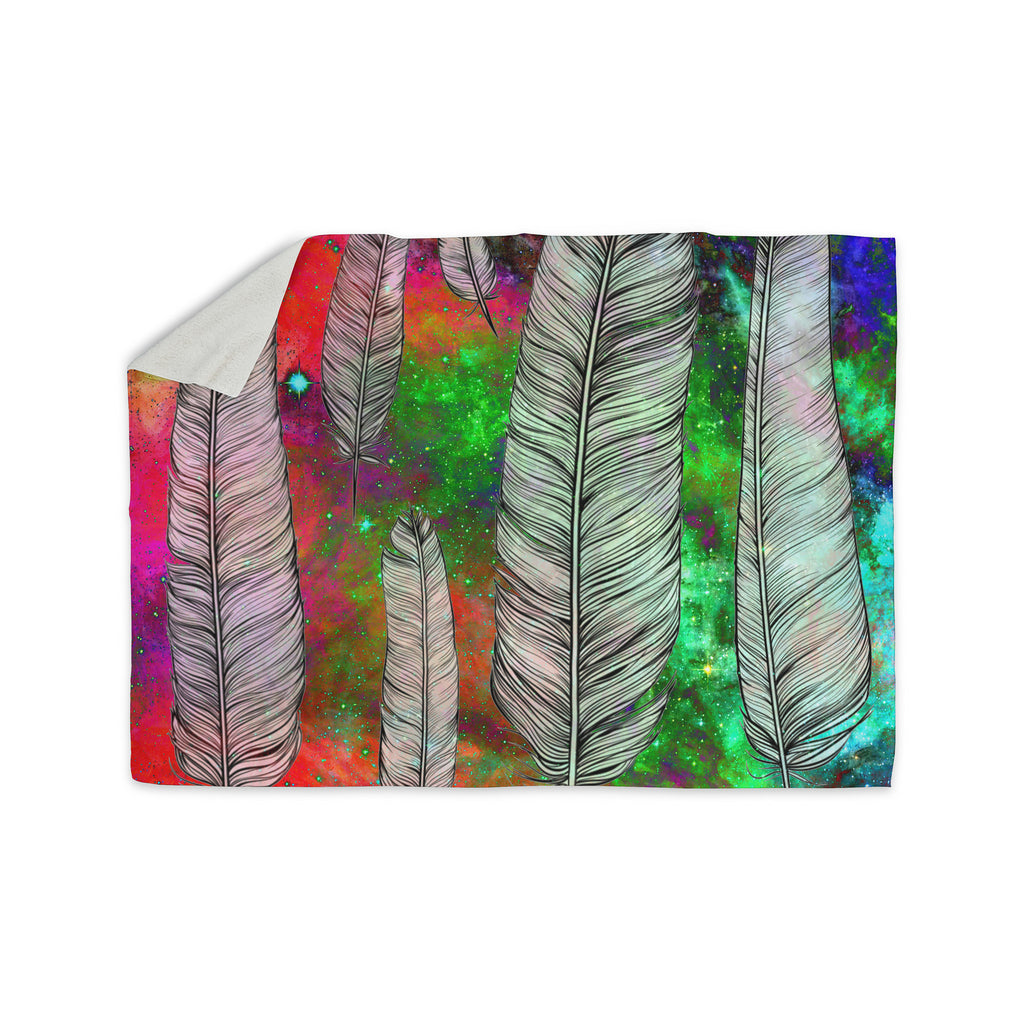 "Suzanne Carter ""Feather"" Rainbow Space Sherpa Blanket - KESS InHouse  - 1"