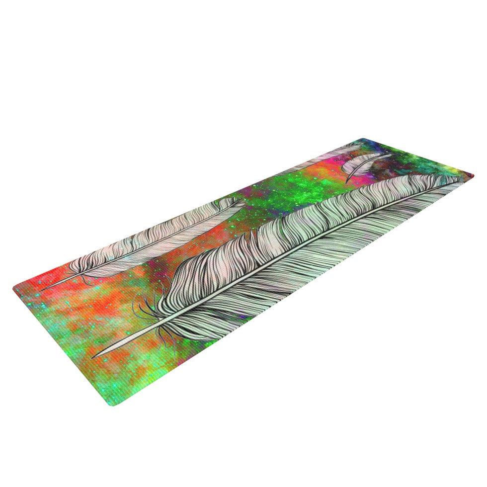 "Suzanne Carter ""Feather"" Rainbow Space Yoga Mat - KESS InHouse  - 1"