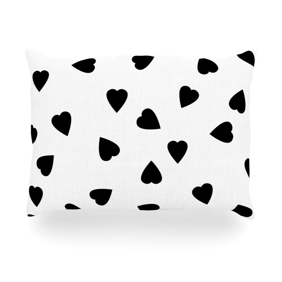 "Suzanne Carter ""Hearts Black"" White Oblong Pillow - KESS InHouse"