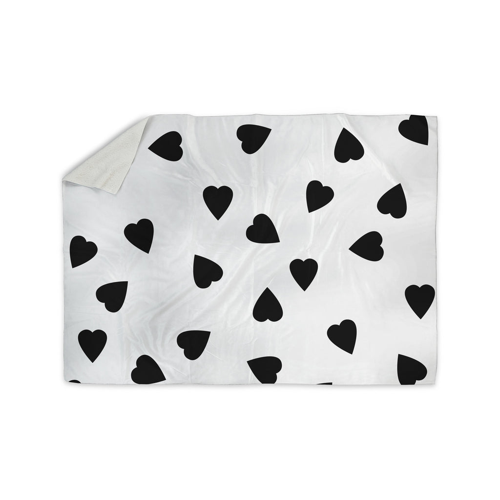 "Suzanne Carter ""Hearts Black"" White Sherpa Blanket - KESS InHouse  - 1"