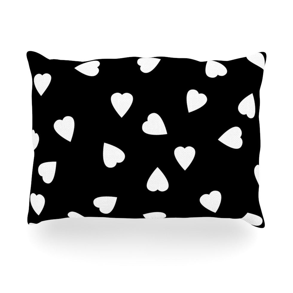 "Suzanne Carter ""Hearts White"" Black Oblong Pillow - KESS InHouse"