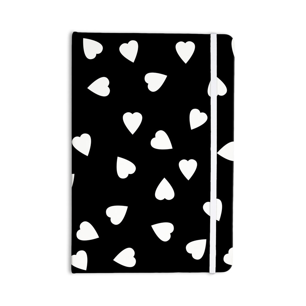"Suzanne Carter ""Hearts White"" Black Everything Notebook - KESS InHouse  - 1"