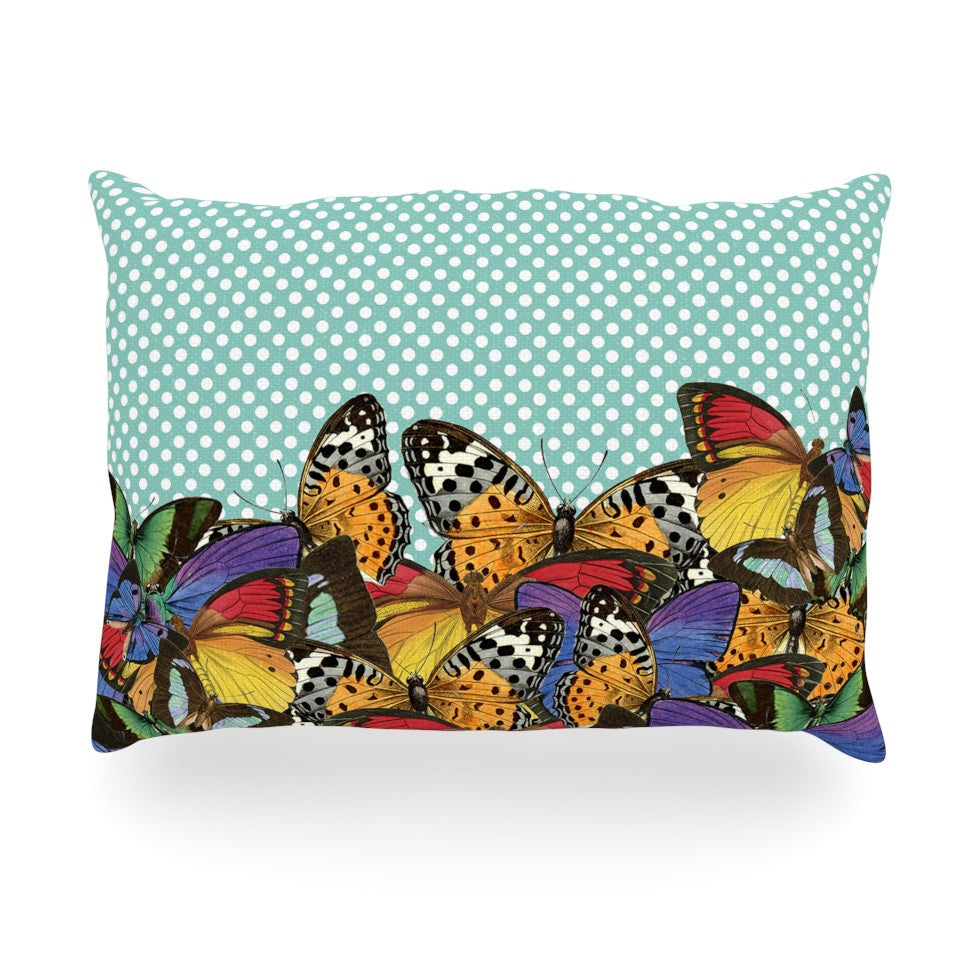 "Suzanne Carter ""Butterfly Polka"" Teal Multicolor Oblong Pillow - KESS InHouse"