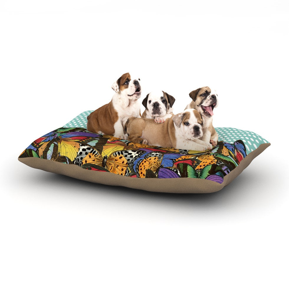 "Suzanne Carter ""Butterfly Polka"" Teal Multicolor Dog Bed - KESS InHouse  - 1"