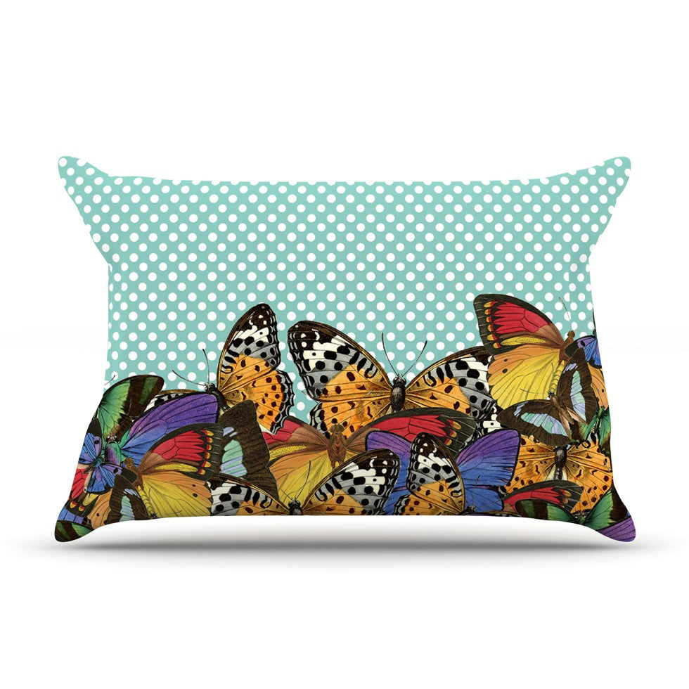 "Suzanne Carter ""Butterfly Polka"" Teal Multicolor Pillow Sham - KESS InHouse"