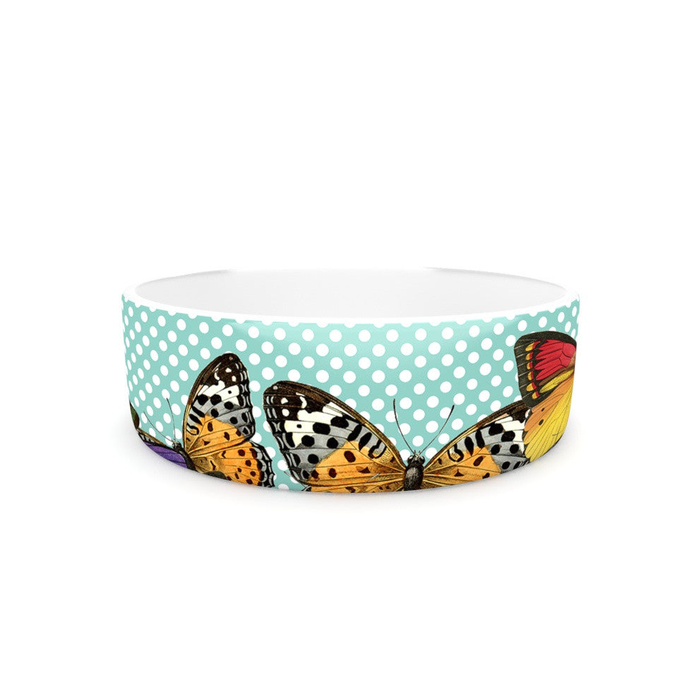 "Suzanne Carter ""Butterfly Polka"" Teal Multicolor Pet Bowl - KESS InHouse"