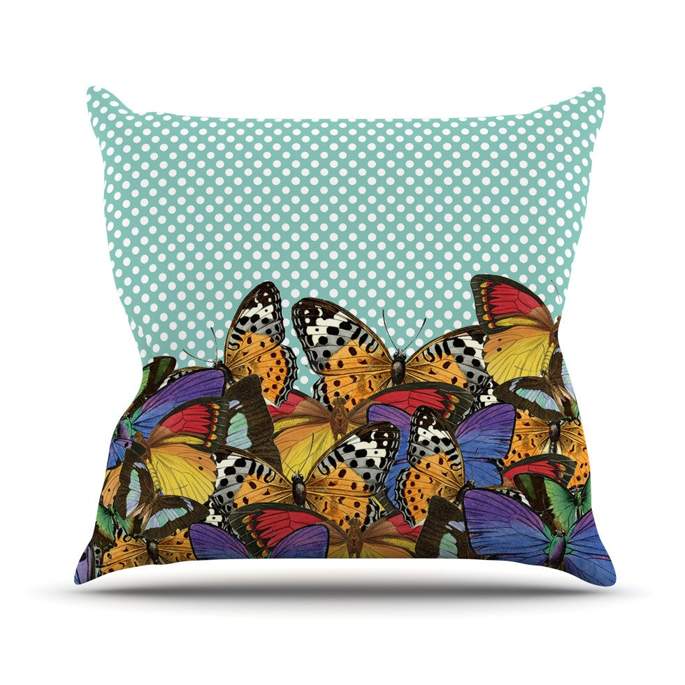"Suzanne Carter ""Butterfly Polka"" Teal Multicolor Outdoor Throw Pillow - KESS InHouse  - 1"